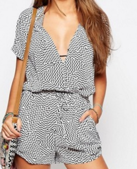 Anthropologie Other - 🍰Seafolly Magnitude black white geometric romper